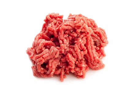 grinded: grinded meat on white background Stock Photo