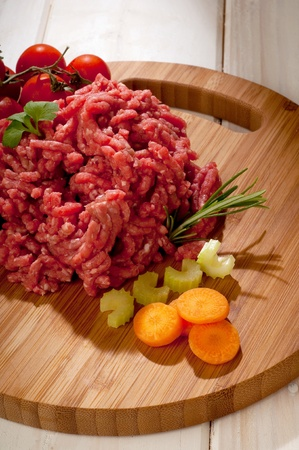 grinded: raw grinded meat with ingredients