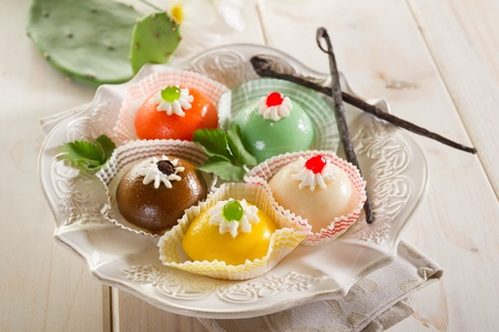 marzipan: variety of cassate sicily dessert Stock Photo