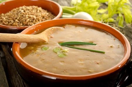 common bean: spelt soup Stock Photo