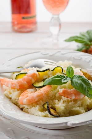 couscous with shrimp and zucchinis photo