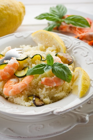 couscous with shrimp and zucchinis Stock Photo - 10250906