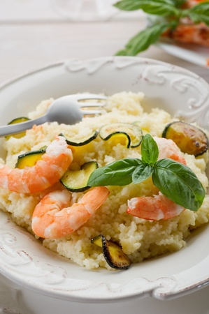 couscous with shrimp and zucchinis Stock Photo - 10250658
