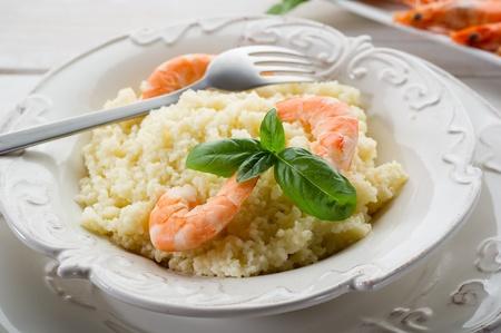 couscous with shrimp  photo