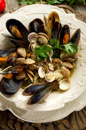 soup with mussel and clam photo