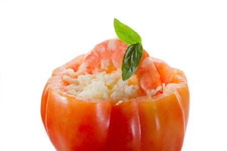 open tomato with couscous and shrimp  photo