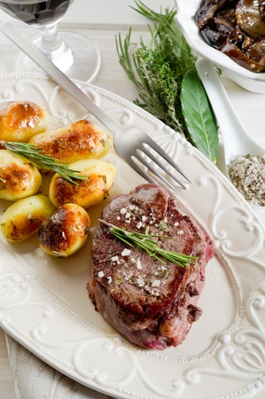 grilled tenderloin with potatoes photo