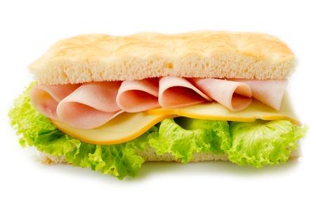 focaccia: sandwich with white pzza and turkey ham