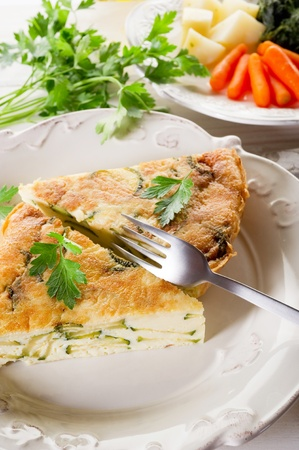 omelet: omelette with zucchinis and parsley Stock Photo