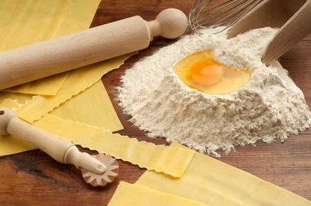lasagna: ingredients for italian homemade pasta Stock Photo