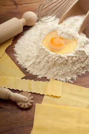 ingredients for italian homemade pasta photo