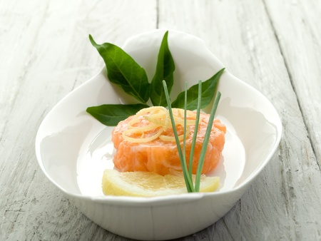 tartar: salmon tartare with lemon and chive