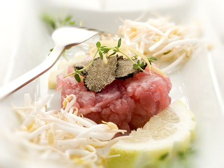 soy sprouts: tuna tartar with truffle and soy sprouts  Stock Photo