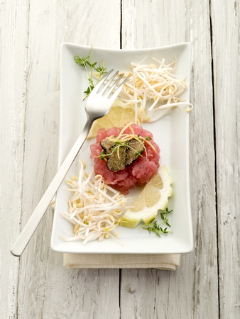 tartar: tuna tartar with truffle and soy sprouts  Stock Photo