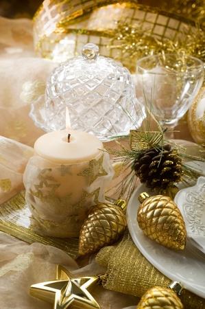 gold xmas decorationes photo