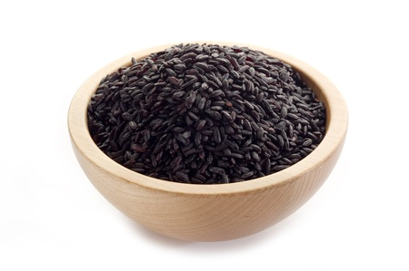 black rice: raw black rice on white