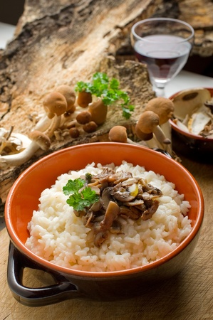 risotto with cep mushroom photo