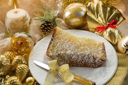 pandoro traditional italian christmas cake photo