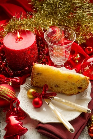 panettone traditional italian christmas dessert on red luxury table stock photo 10353974 - Italian Christmas Table Decorations