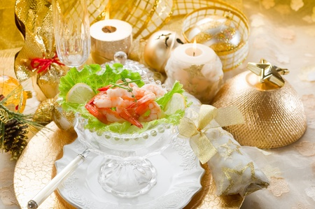 shrimp cocktail: shrimp cocktail on golden table Stock Photo