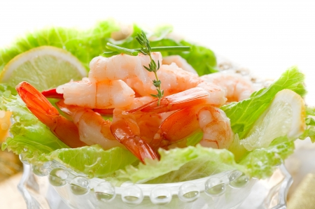 shrimp cocktail on golden table Stock Photo