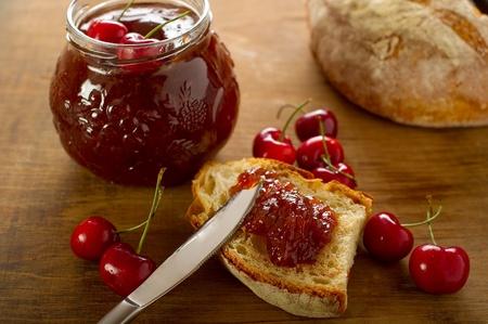 cherry jam with slice bread photo