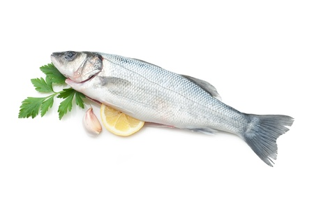 dorade: seabass with ingredients ready to cooking Stock Photo