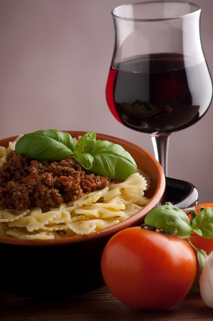 pasta with italian ragout sauce bolognese photo