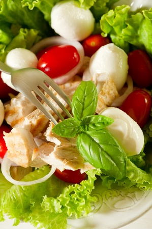 mixed salad with grilled chicken breast and cherry mozzarella photo