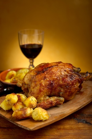 chicken roast: pollo asado con patatas