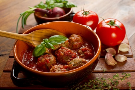 tomato sauce: meat balls with tomatoes sauce Stock Photo