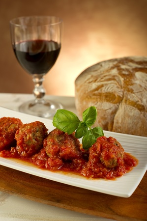 sauce bowl: meat balls with tomatoes sauce Stock Photo