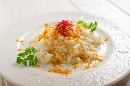 risotto with saffron pistil photo