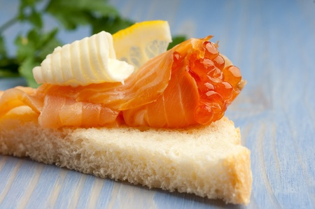 appetizer with soked salmon  photo