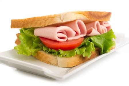 ham: sandwich met kalkoen ham en sla