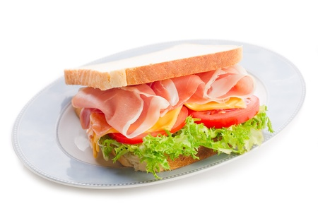 parma ham: sandwich with parma ham  cheese and lettuce