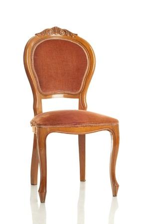 silla de madera: antiguo Presidente sobre fondo blanco