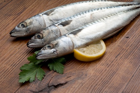 mackerel with ingredients ready to cooking photo