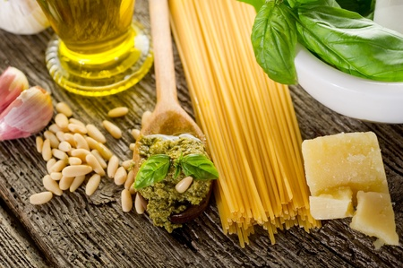 ingredients for pasta with pesto photo
