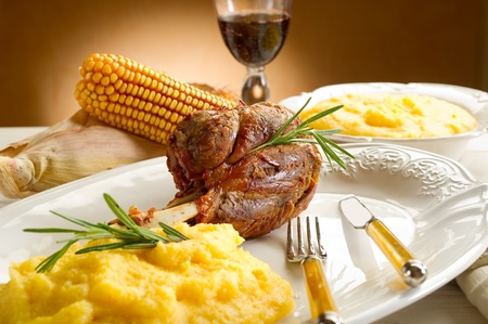 red braised: shank with polenta Stock Photo