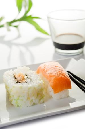sushi on white background photo