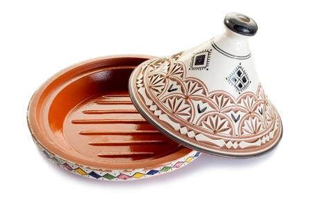 moroccan cuisine: decorated tajine on white background Stock Photo