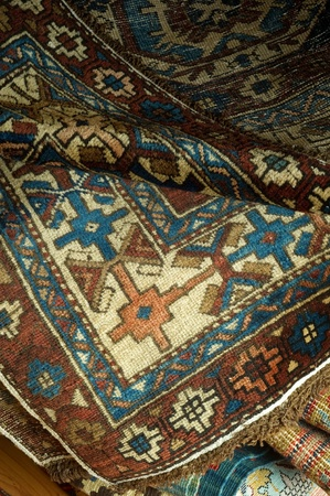 variety of ancient oriental carpets  photo