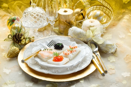 mix canape on christmas table Stock Photo - 10405215