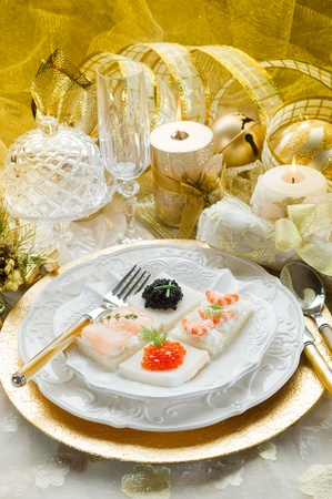 mix canape on christmas table Stock Photo - 10403488