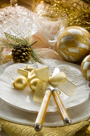 gold xmas table with decorations Stock Photo - 10403547