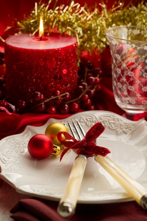 red xmas luxury table photo