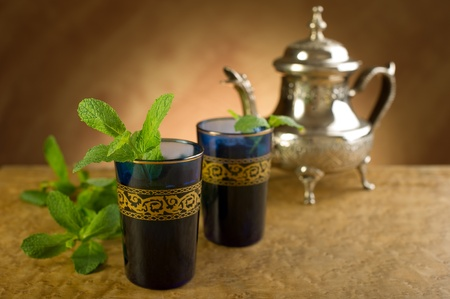 moroccan culture: moroccan mint tea Stock Photo