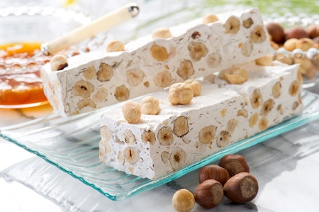 nougat: nougat with ingredients Stock Photo