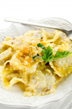 ravioli: pumpkin ravioli with parmesan cheese